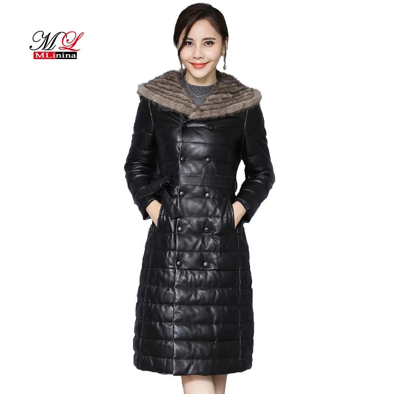 MLinina Winter Faux Mink Fur Collar   Leather   Jacket Coat Women Slim Long Sleeve Jacket Zipper Outerwear Plus Size 4xl 5xl Coats
