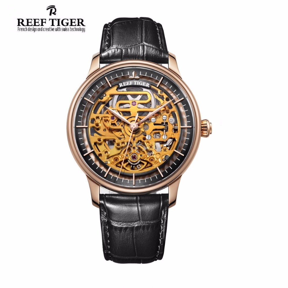 Reef Tiger/RT Designer Skeleton Watches for Men Rose Gold Calfskin Leather Strap Automatic Watch RGA1975 2x yongnuo yn600ex rt yn e3 rt master flash speedlite for canon rt radio trigger system st e3 rt 600ex rt 5d3 7d 6d 70d 60d 5d