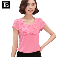 Office Women Shirts Blouses White Pink Purple Elegant Ladies Chiffon Blouse Short Sleeve Womens Tops Chemise