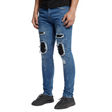 цена на Men Skinny Jeans Blue&Black 2019 Brand men Hole hip hop Jeans Big Size Elastic Denim Pant Kanye West Motorcycle autumn men pants