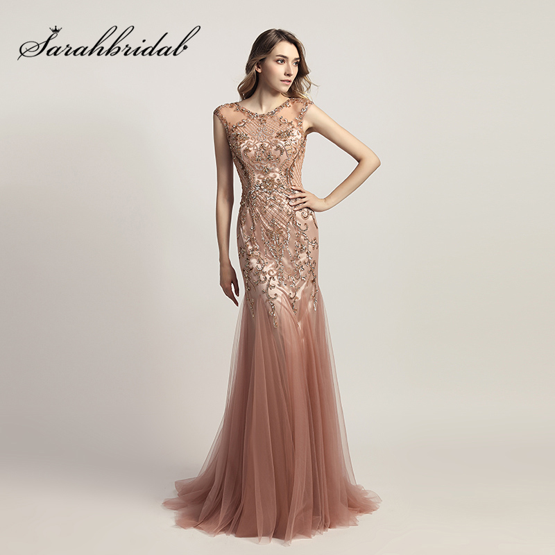 2018 Fashion Long Mermaid Celebrity Dresses With Shining Beading Dusty Rose Tulle Important