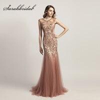2018 moda sirena larga Celebrity Vestidos con brillantes abalorios Rosa polvoriento tulle importante vestido de fiesta rojo Alfombras vestidos ol447