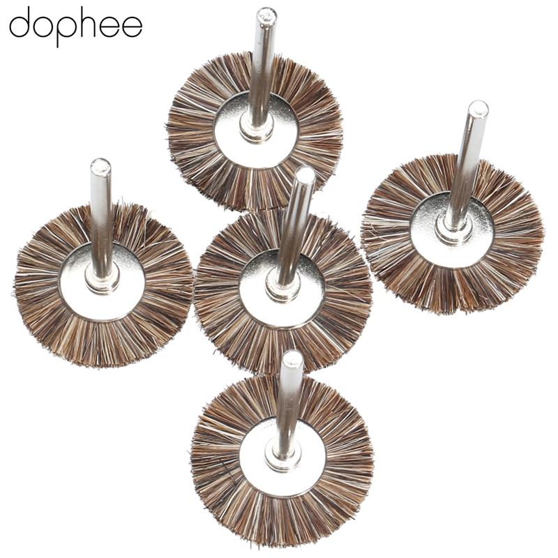 Dophee Dremel Accessories 25mm Fibre Die Grinding Polishing Wheel Rotary Tools Brushes Wheel Kit Polish Tool 3mm Shank 5PCS