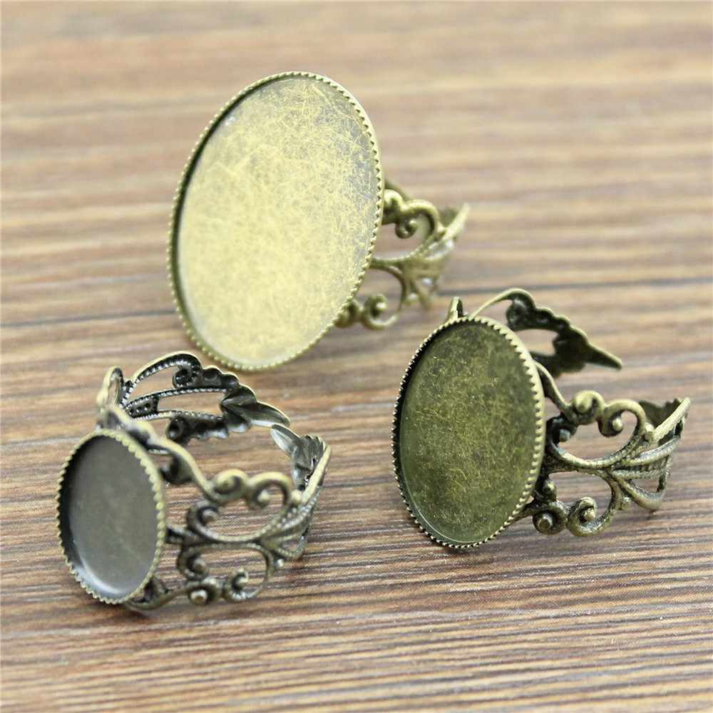 10pcs Filigree Ring Setting Base Adjustable Ring Filigree Fit 10x14mm 13x18mm 18x25mm Oval Glass Cabochons Antique Bronze Color