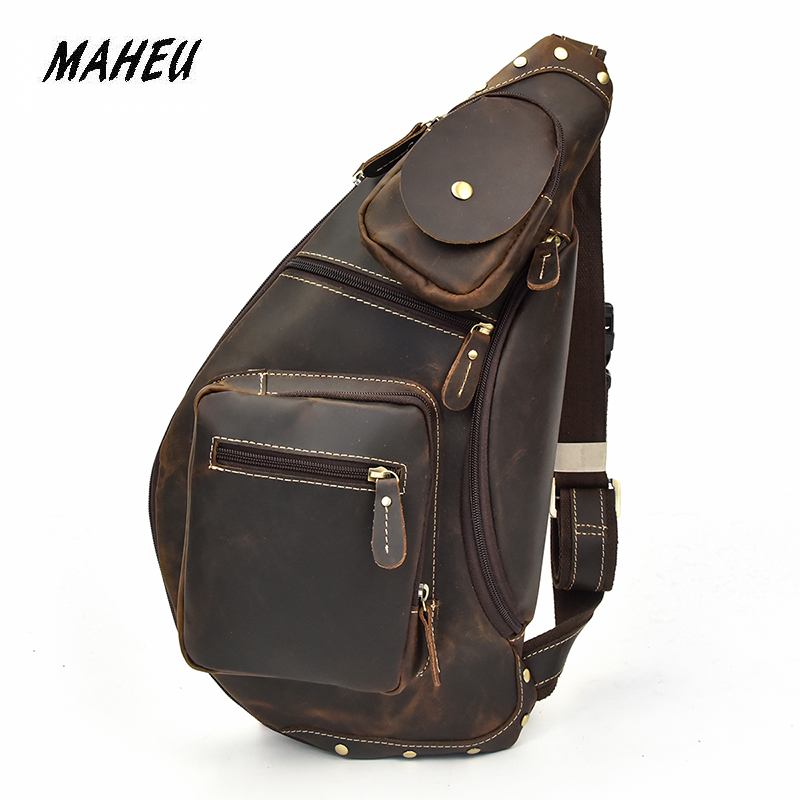 Image 2 - MAHEU Mens Genuine Leather Chest Bag Leather Big Capacity  Crossbody Bag Casual Male Riding Messenger iPad Cell Phone Sling  Bagchest bagbag casualmessenger bag