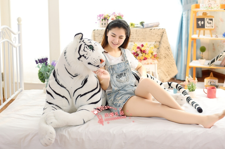 simulation animal white tiger plush toy about 130cm prone tiger birthday gift  w9998 huge 105cm prone tiger simulation animal white tiger plush toy doll throw pillow christmas gift w7973