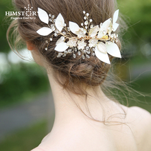 Himstory Vintage Gold Leaf Bridal Hairpins Crystal Pearl Hair Clips Wedding Hair Accessories Bridal HairPins Party Women Jewelry new arrival girls women hair accessories big pearls hairpins party hair clips barrette wedding bridal hairpins romantic jewelry