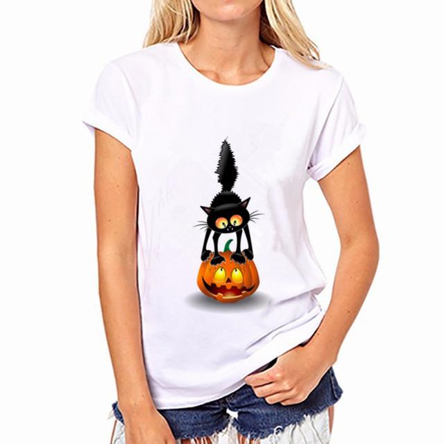 2017 Brand New Fashion Women T-shirt Brand Tee Tops Print  Short Sleeve Black Cat Tops O-neck Loose T Shirt Free Shipping