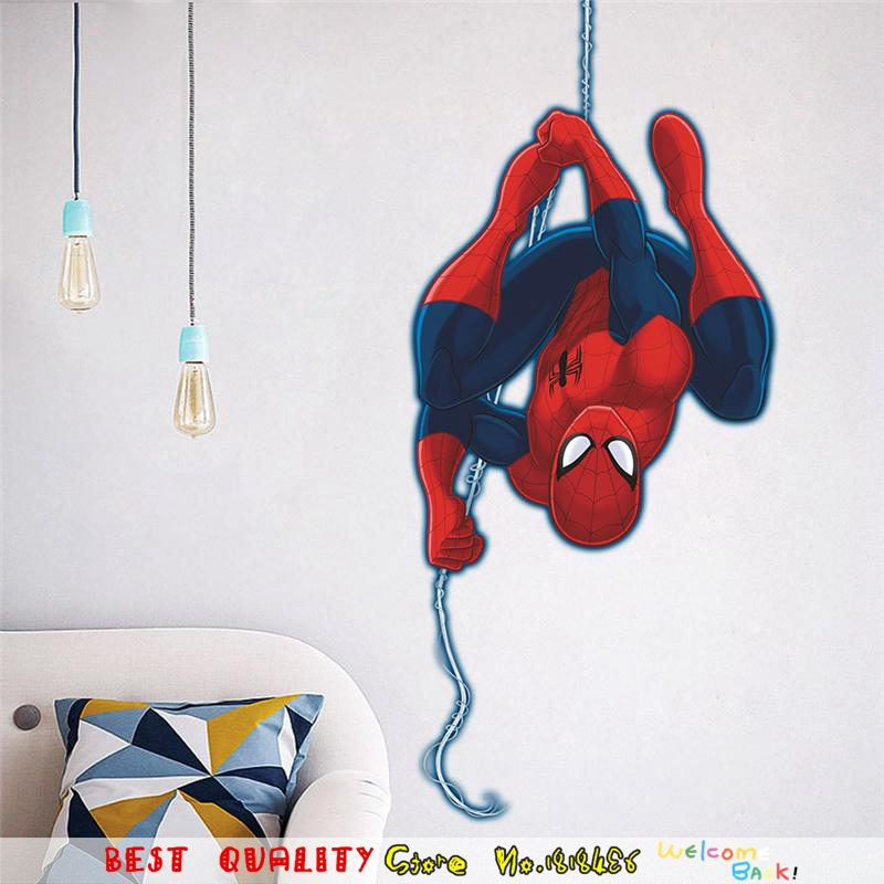 Hot Sale Spiderman Wall Sticker Marvel Superhero Wall Decal Paper Craft Kids Bedroom Decor