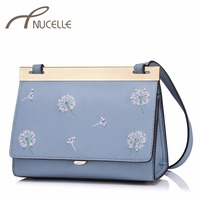 NUCELLE Women Leather Messenger Bags Ladies Fashion Brief Dandelion Embroidery Bags Female Brief Leisure Crossbody Bags