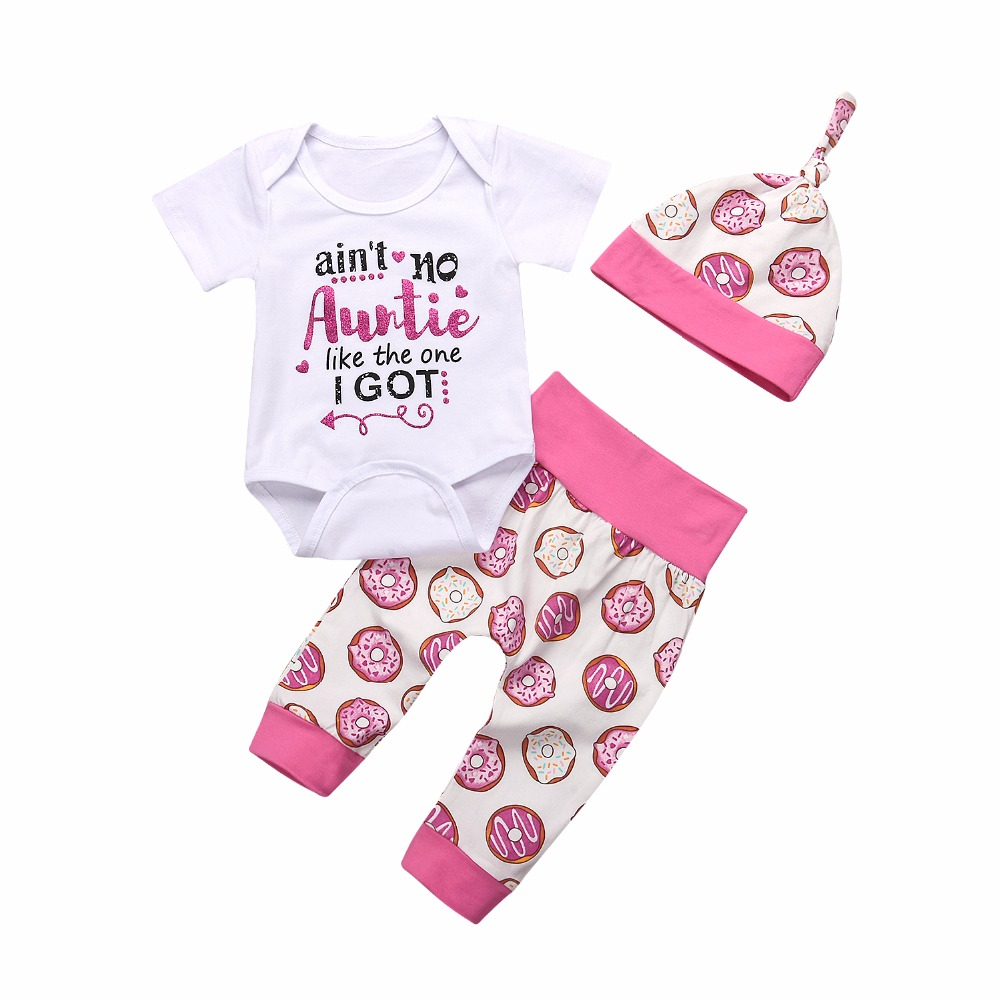 3Pcs/Set Newborn Baby Girls Summer Clothing Auntie Love Romper+Donuts Pink Long Pants with Headband Outfit Set