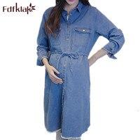 Fdfklak Korean Fashion Dress Woman Pregnant 2018 Spring Autumn Long Sleeve Denim Maternity Dress Loose Pregnancy Clothes F90