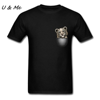 Funny Animal T Shirts Men Navy Garment Create POCKET TIGER Shirt for Plus Size 3XL Homme Tops