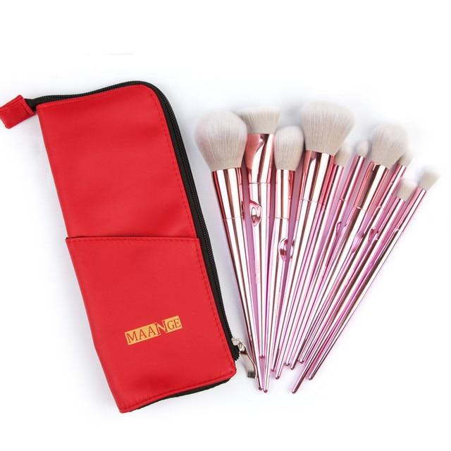 10 pinceles de maquillaje en polvo base sombra de ojos delineador de labios cepillo cosmético F9.27