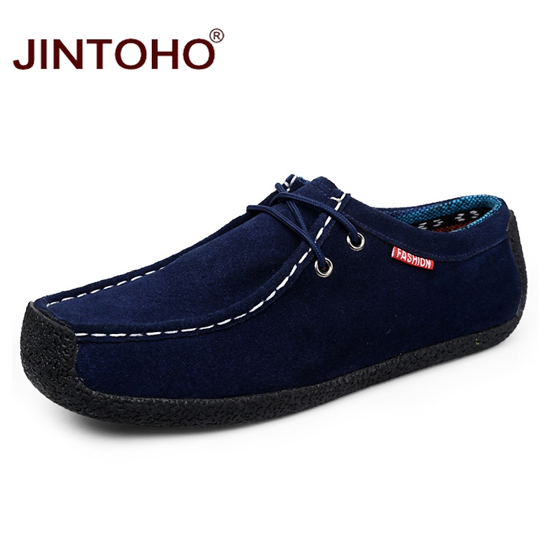 JINTOHO Shoes Men Sneakers Cow-Suede Breathable Big-Size Casual Fashion Male