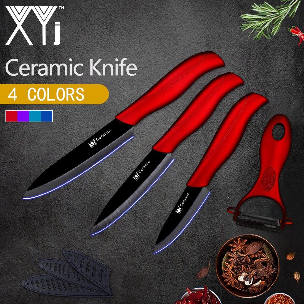 XYj Cuisine Couteau En Céramique Set 3 4 5 pouces + Cadeau Éplucheur Sharp Noir Lame Multi-couleurs ABS + TPR Poignée Cuisine Cuisson Outils