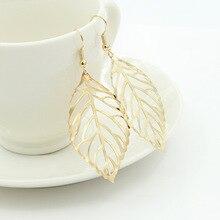 European and American Fashion Simple Mori Metal Leaf Earrings New