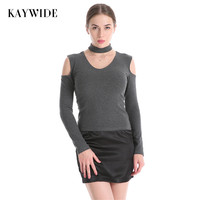 KAYWIDE 2017 Autumn Women Tops Series Winter Fashion Halter Off Shoulder Long Sleeve Solid Sexy Elastic Knitted T Shirts B0161