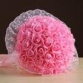 Свадебный Букет 2017 Красная Роза Белый Цветок с Лентой Бросить Невесты Цветы Свадебные Букеты