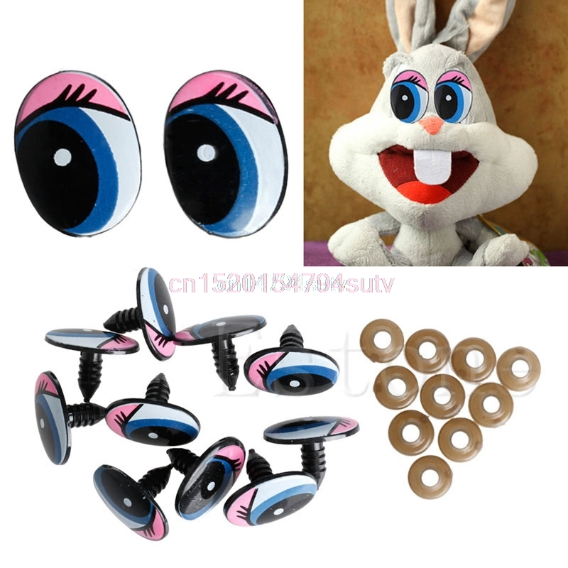 5 Pairs(10Pcs) Oval Blue Safety Plastic Eyes Toy Puppets Dolls Eyes DIY 24 x 18mm #H055#
