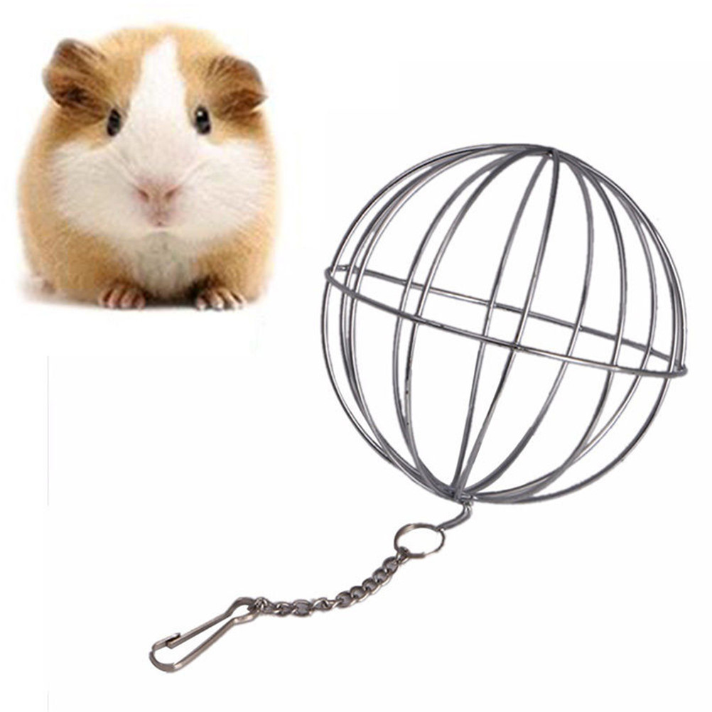 Feed Ball for Rodents,Rabbit Feed Dispenser,8//13 cm Sphere Treat Guinea Pig Hamster Rabbit Feed Dispenser Hanging Ball Toy Rabbit Hay Feeder for Pets Anti-bite Stainless Steel Frame with Hanging