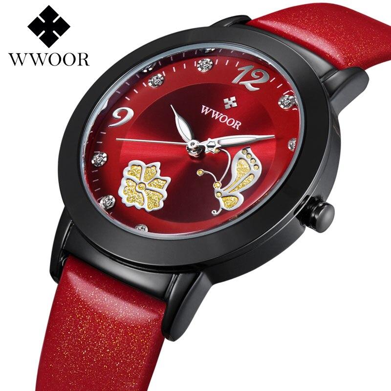 women watches Brand WWOOR Fashion quartz-watch Women's clock relojes mujer dress ladies watch Business red leather butterfly