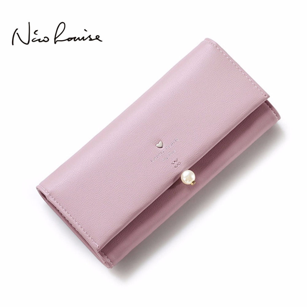 2017 Women Pearl Leather Wallet Fashion Lady Portable Multifunction Long Solid Color Change Purse Hot Female Clutch Carteras yuanyu free shipping 2017 hot new women bag real women clutches pearl fish skin wallet long fashion leisure women wallet purse