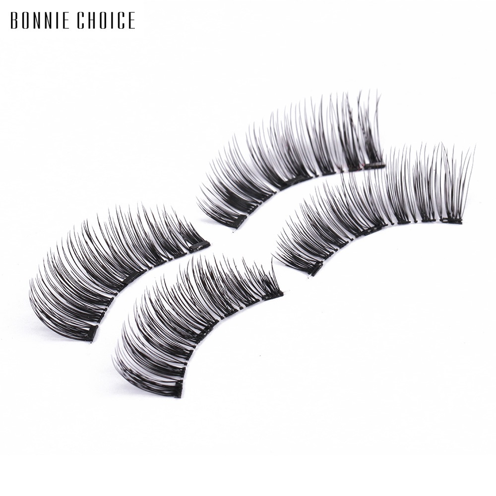 3293bffb178 BONNIE CHOICE 3D Magnetic Eyelashes With 3 Magnet False Eyelashes Handmade  Eye Lashes 4Pcs Eye Makeup Kit