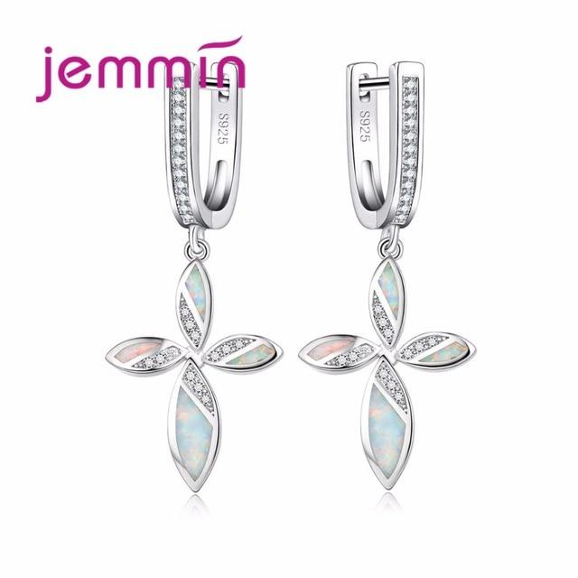 Jemmin Elegent Women Cross Flower Silver Dangle Earrings Fashion Sparkly Opal 925 Sterling Ear