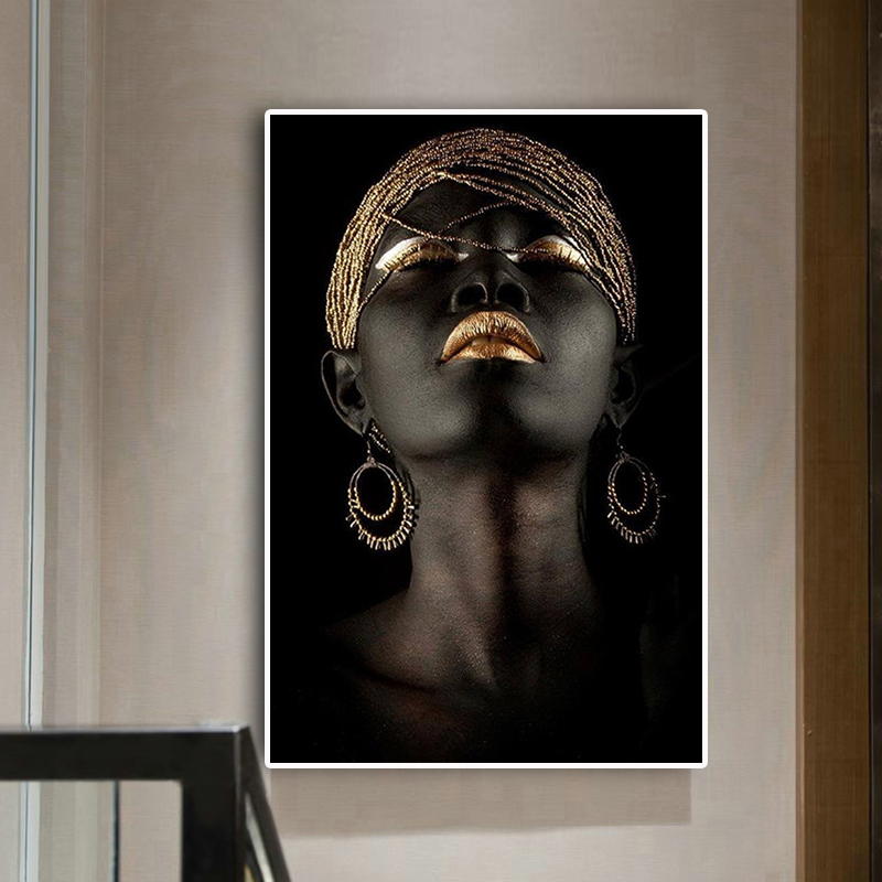 Painting of african woman with gold earrings on black background