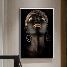 Contemplator Black African Nude Woman Oil Painting on Canvas Posters and Prints Scandinavian Wall Art Picture for living room(China)
