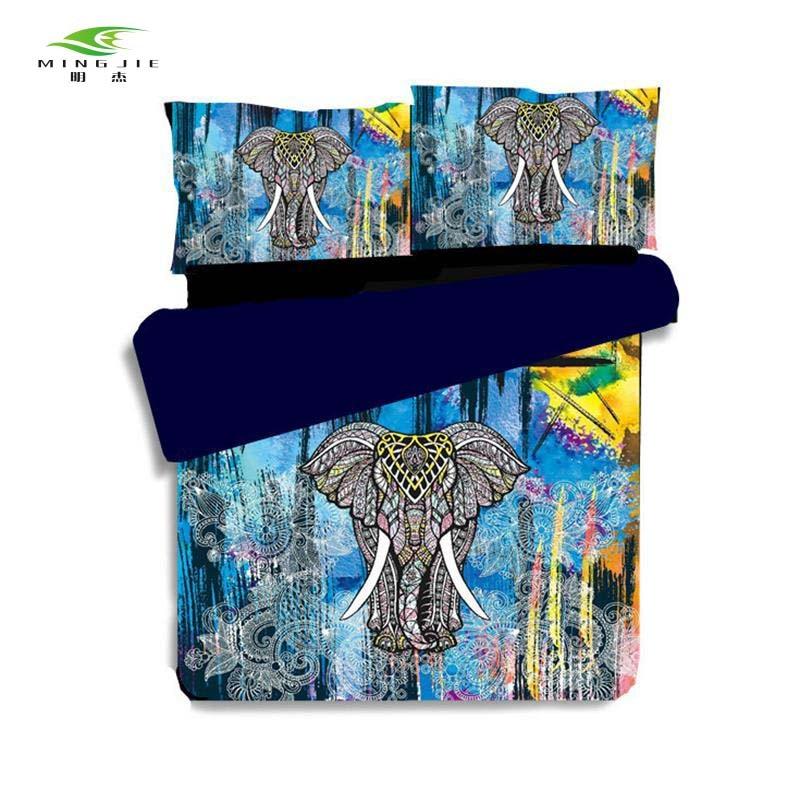 Nouvelle bohême inde 3D éléphant imprimer housse de couette ensemble 3 pièces UK US reine roi taille literie linge de lit boho ensembles de literie taie d'oreiller