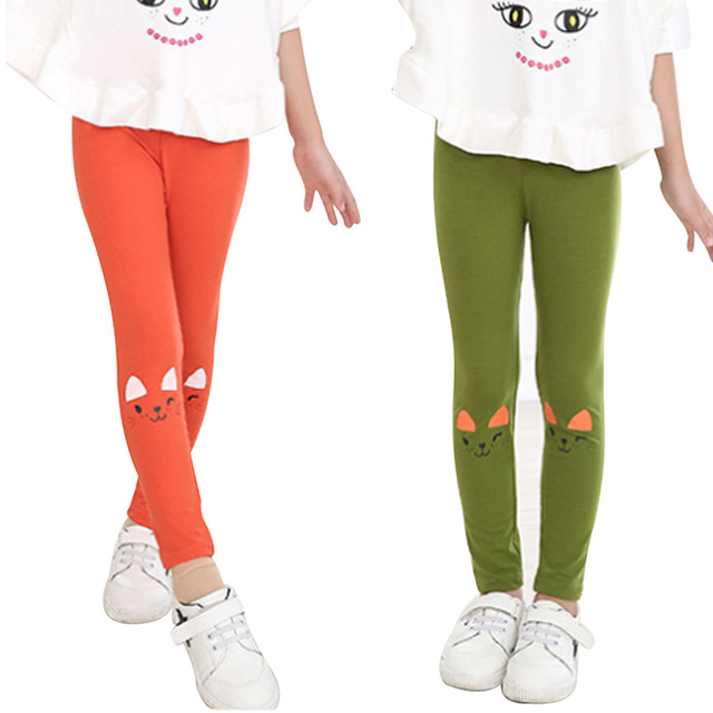 fc6d54b4b Hilenhug Girls Pants Leggings Cat Style for Children Kids Girl Trousers  Cute Baby Toddler Spring Clothing 3 to 10 Years