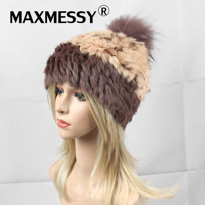 MAXMESSY Winter Hat For Women's Knitted   Skullies     Beanies   Raccoon Real Fur Pompom Warm Rabbit Ear Thickened Hat Multicolor Cap