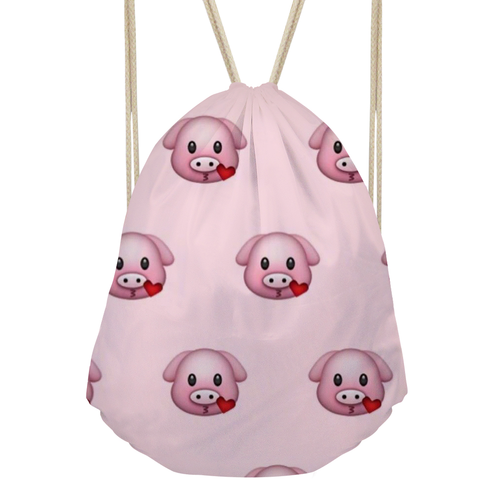 cb58bf5401fa US $7.27 47% OFF|Noisydesigns Backpack Funny Pig Emoji Smiley Face Kids  Draw String Bag For Girls Couple Lover Shoe Backpacks Beach Storage Bag-in  ...