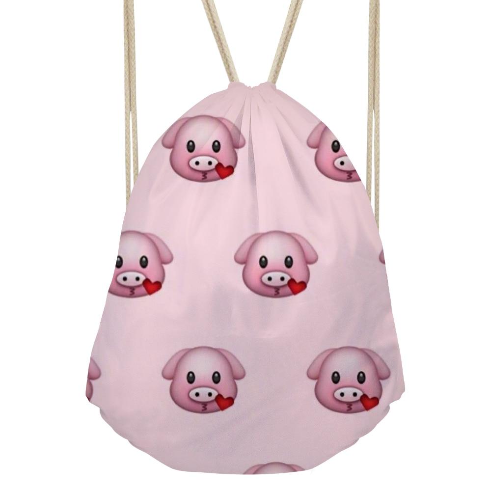 Noisydesigns Backpack Funny Pig Emoji Smiley Face Kids Draw String Bag For  Girls Couple Lover Shoe Backpacks Beach Storage Bag adb9b9e16
