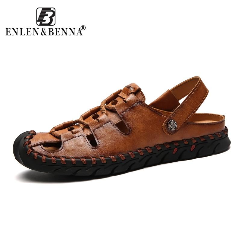 2018 Fashion Quality Genuine Leather Men Roman Sandals Soft Summer Casual Shoes Men Beach Sandalias Men Shoes