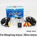 Para SSangYong Actyon/Micro Actyon 1th 2005 ~ 2011 RCA Cable AUXILIAR o Inalámbrica HD Gran Angular de Lente de Visión Nocturna del CCD de Visión Trasera cámara