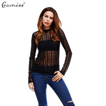 Gamiss Women Soild Lace Peplum Blouse Sexy See Through Shirt Clothes Full Sleeve O Neck Transparent Blouse Spring Autumn Tops(China)