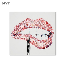 Sexy Woman Lip Painting Picture Abstract Handmade Oil Painting Acrylic Painting On Canvas Wall Art Bedroom Decoration