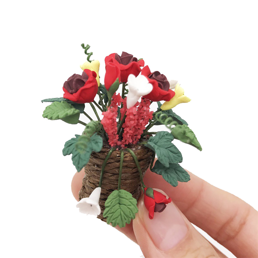 Doll Houses Sunny Artificial 1/12 Dollhouse Miniature Fake Green Plant Flower Rose Fairy Simulation Green Plant Garden Mini Flower Toy Gift T9#