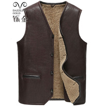 100 High Quality Real Sheepskin Fur Men Coat Genuine leather waistcoat Natural sheepskin true wool fashion waistcoat for man cheap Leather Suede REGULAR Sleeveless Thick NONE Casual V-Neck Single Breasted Solid