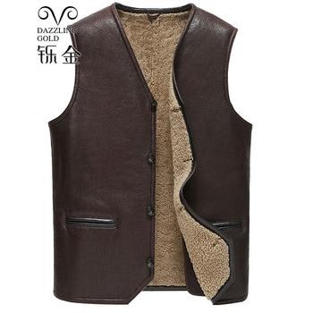100% High Quality Real Sheepskin Fur Men Coat Genuine leather waistcoat Natural sheepskin true wool fashion waistcoat for man