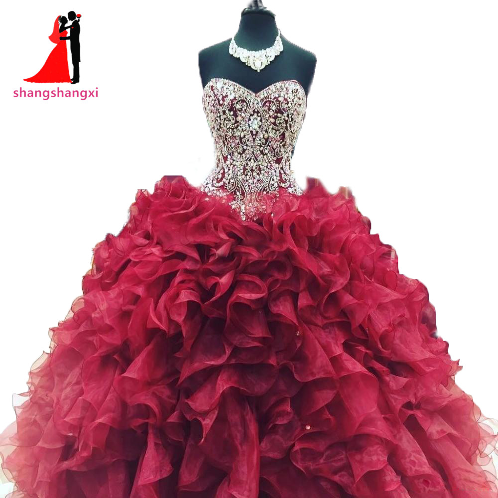New cheap crystal beads burgundy quinceanera dresses 2017 masquerade ball gowns ruffles sweet 16 dress vestidos