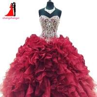 New cheap crystal beads burgundy quinceanera dresses 2017 masquerade ball gowns ruffles sweet 16 dress vestidos.jpg 200x200