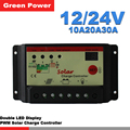10A20A30A 12 V/24 V controlador de carga solar, regulador solar para uso do sistema do painel solar, LED duplo exposição da luz. preço barato