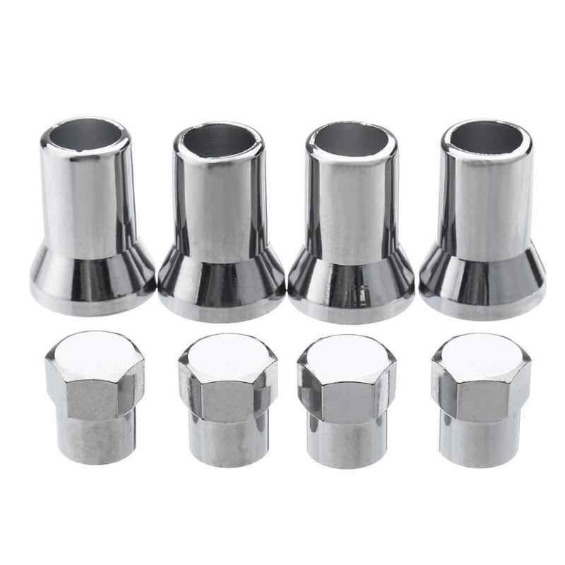 4pcs TR413 Chrome Car Truck Tire Wheel Tyre Valve Stem Hex Caps w/ Sleeves