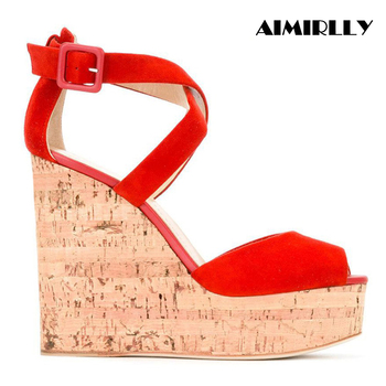 Womens Cork Wedge Sandals Sky High Platform High Heel Summer Shoes Cross Strap Cover heel Comfortable RED Faux Suede Aimirlly