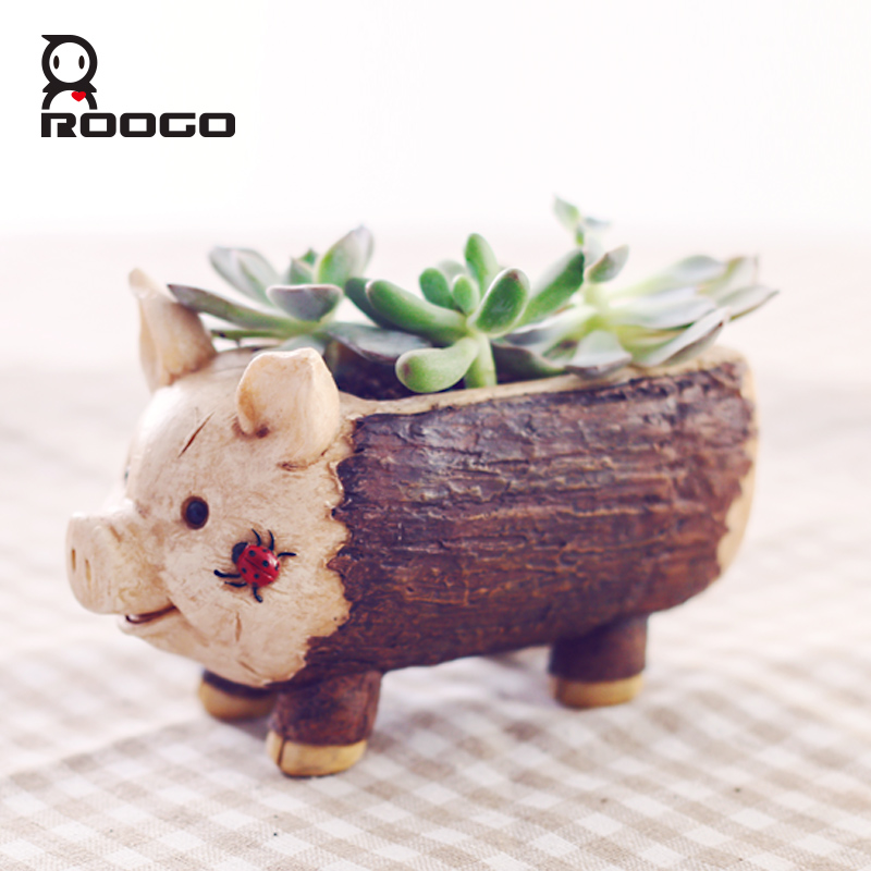 Image 2 - Roogo Creative Pig Design Flowerpot Resin Wood Flower Pots Micro Landscape Ornaments Planter for Home Indoor-in Flower Pots & Planters from Home & Garden
