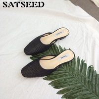 Hot Style Spring And Autumn Slippers Square Heel Cane Casual Straw Cool Slippers Fashion Beach Shoes
